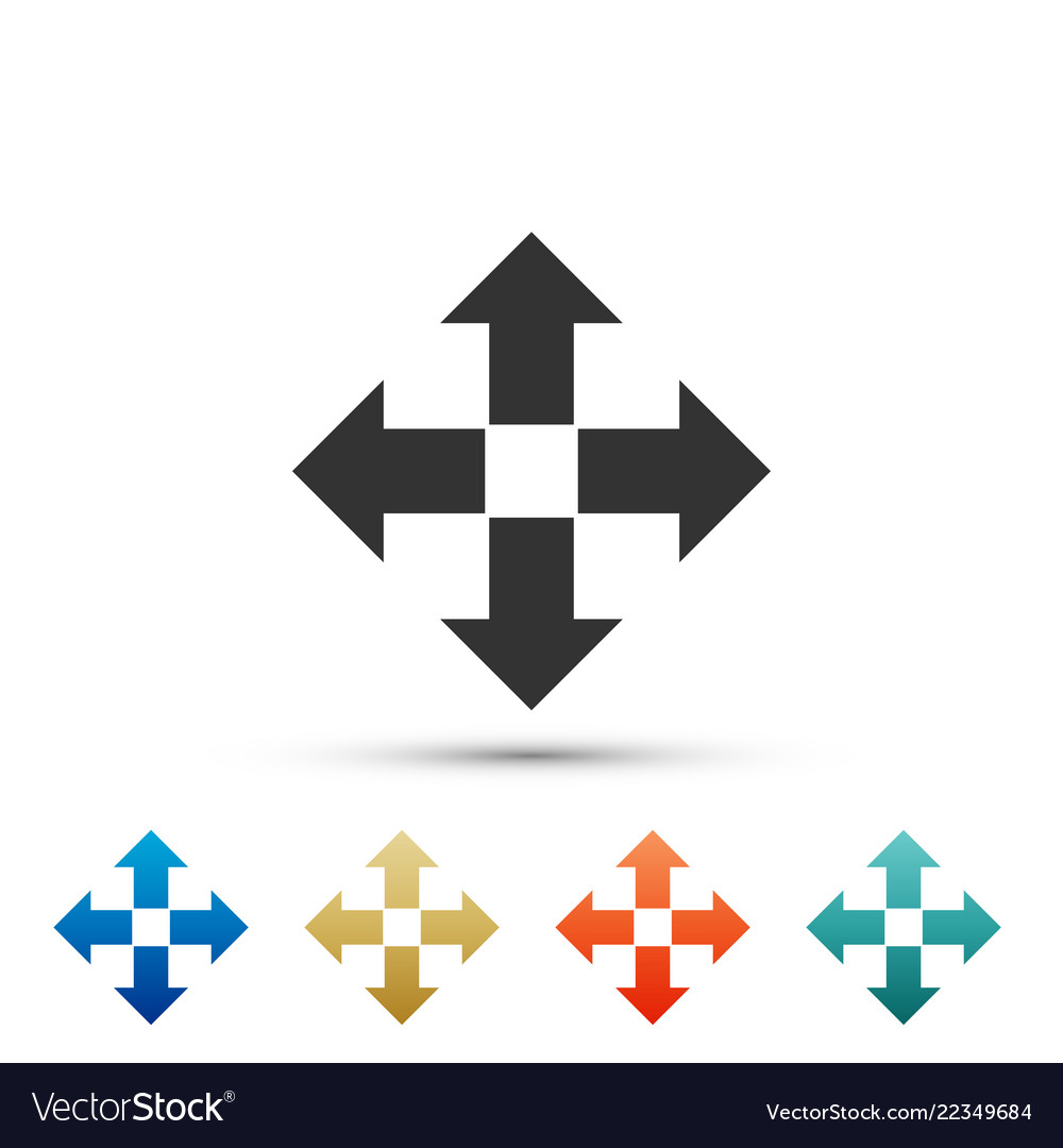 Arrows in four directions icon on white background