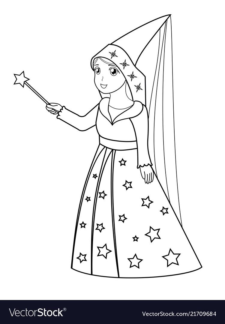 Cartoon fairy coloring page Royalty Free Vector Image