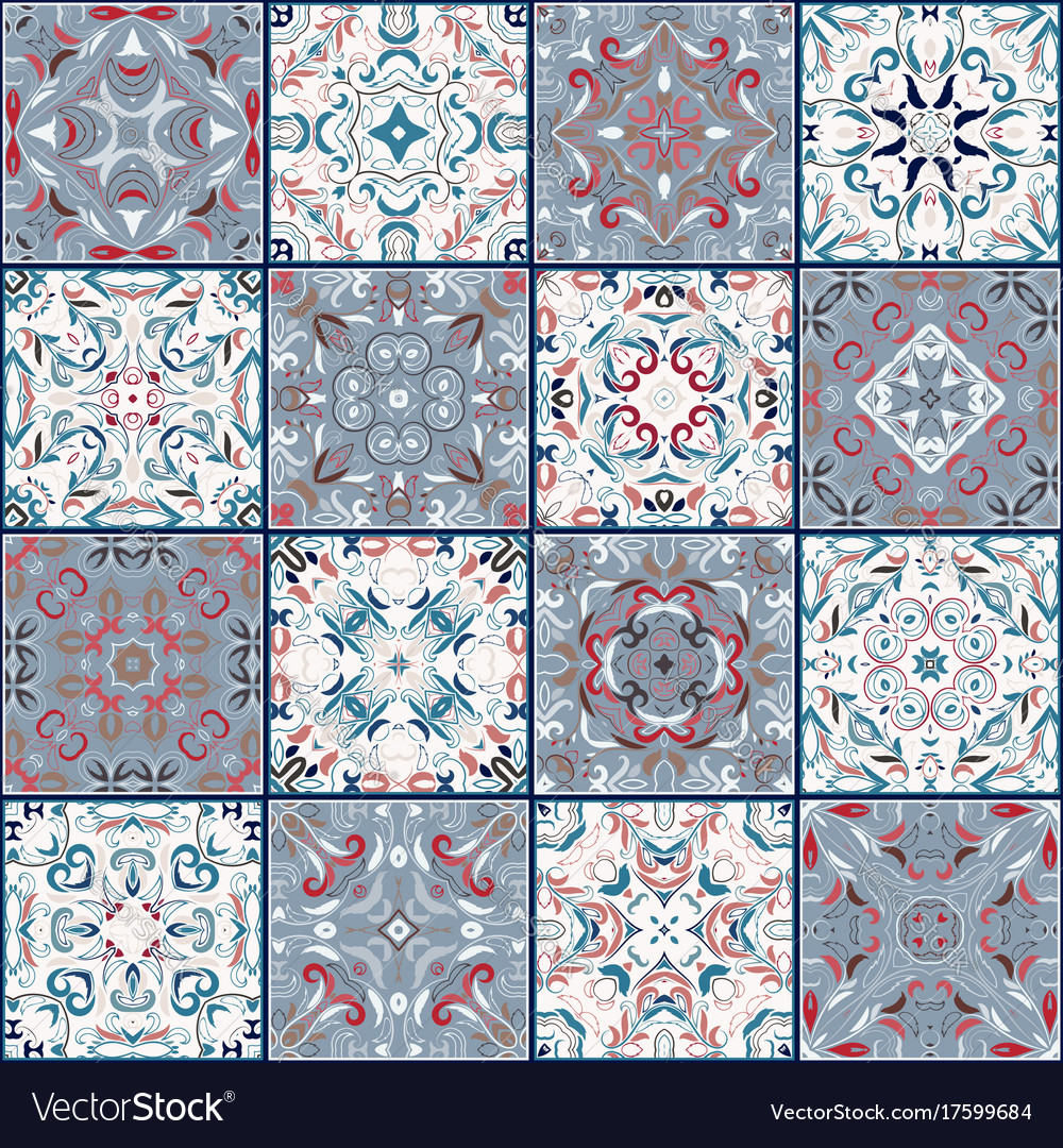 Collection of different vintage tiles Royalty Free Vector