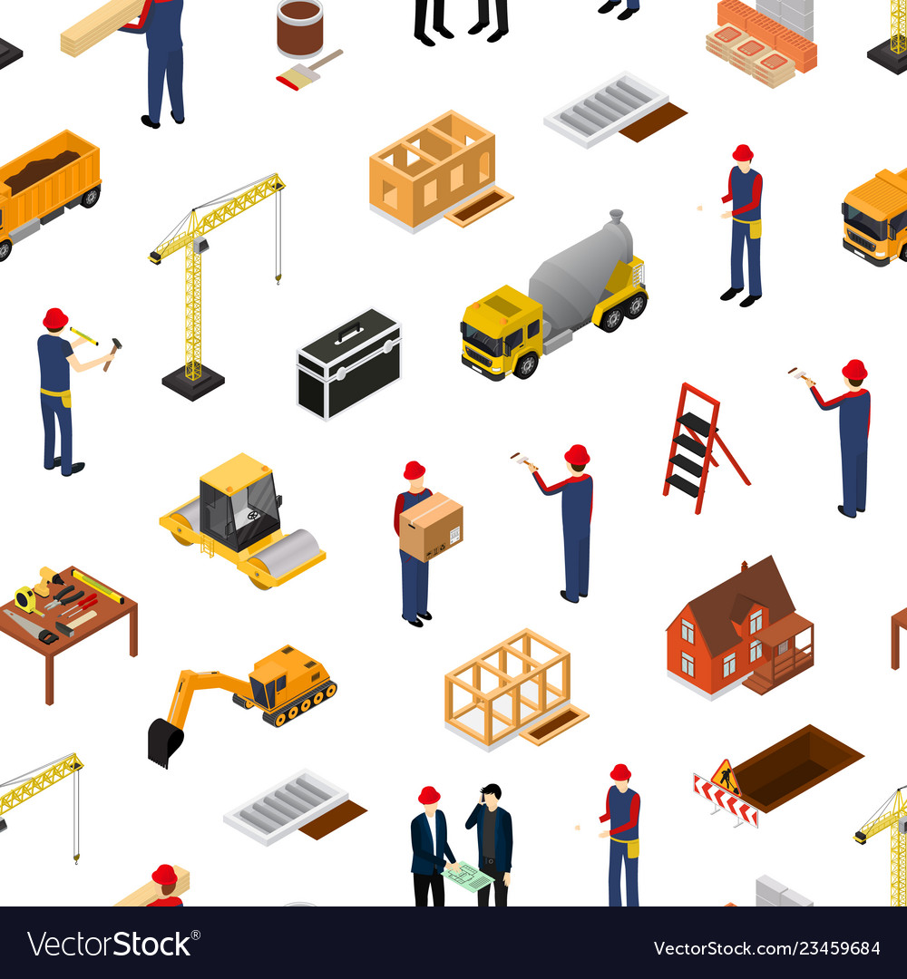 Construction building concept seamless pattern