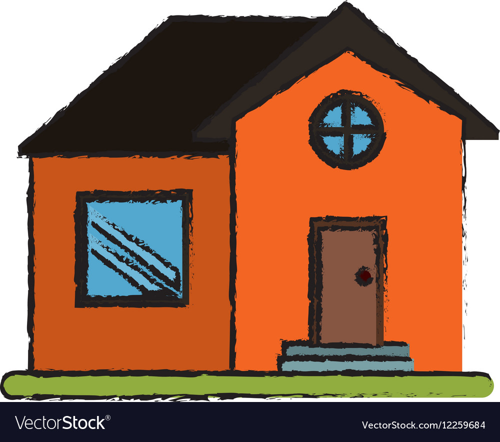 Drawing orange house home property round window vector image