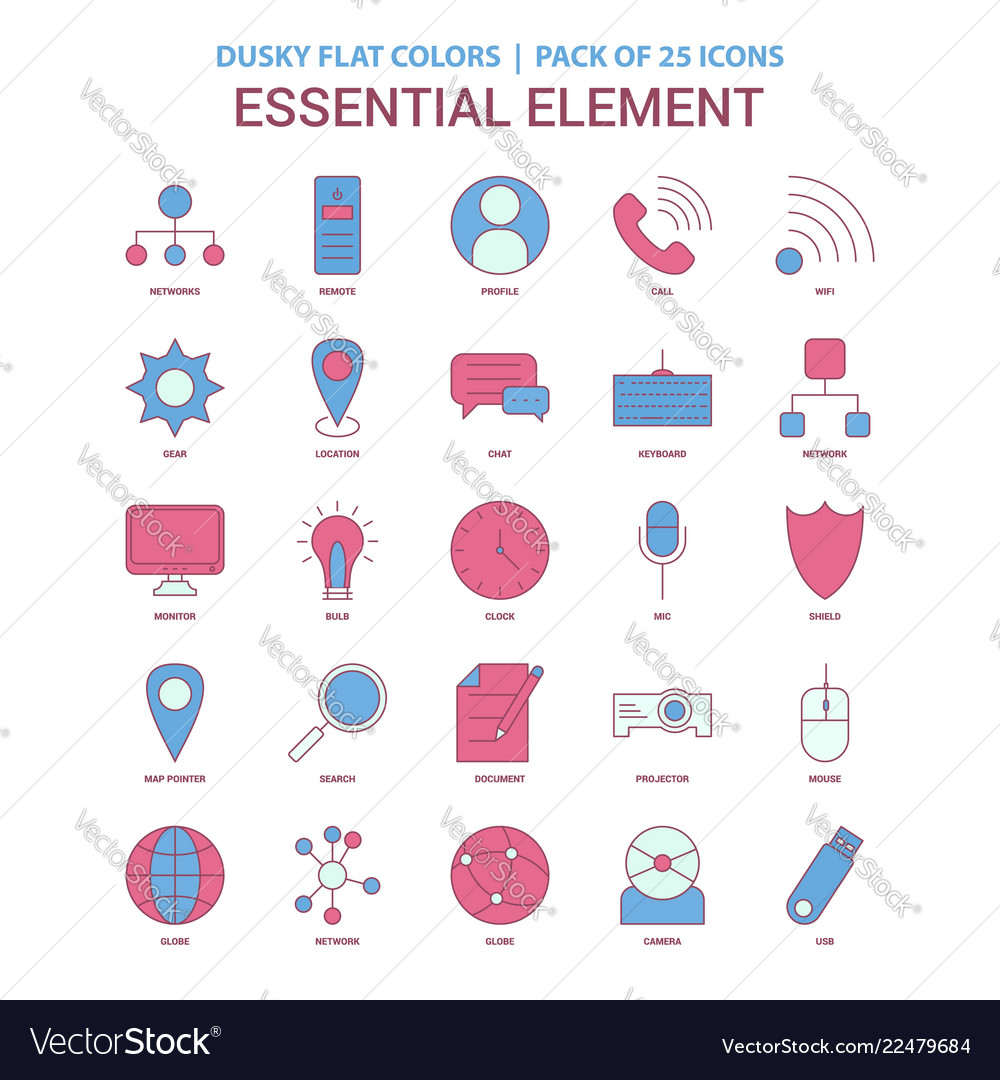 Essential element icon dusky flat color - vintage