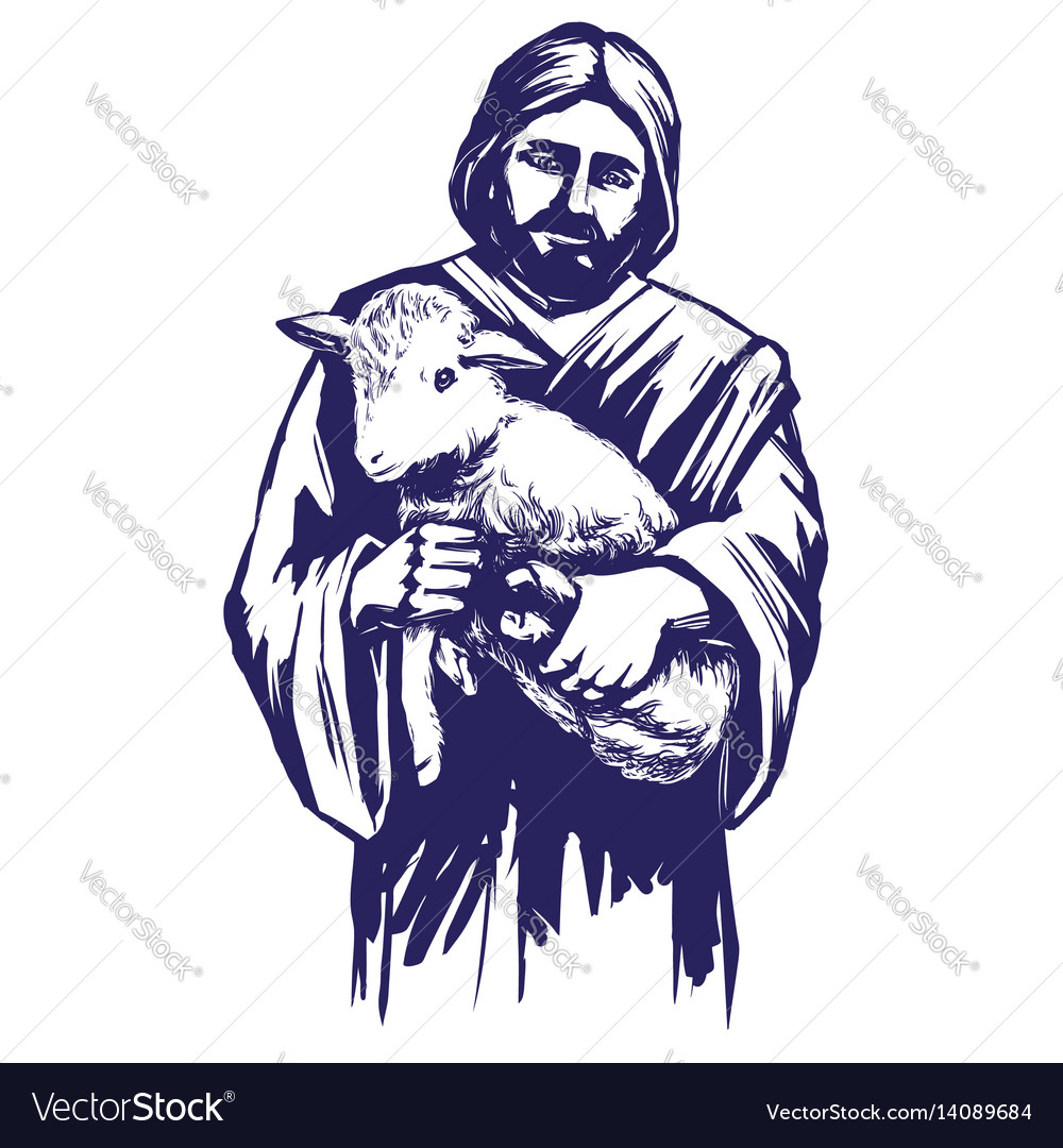 Jesus christ son of god holding a lamb in his