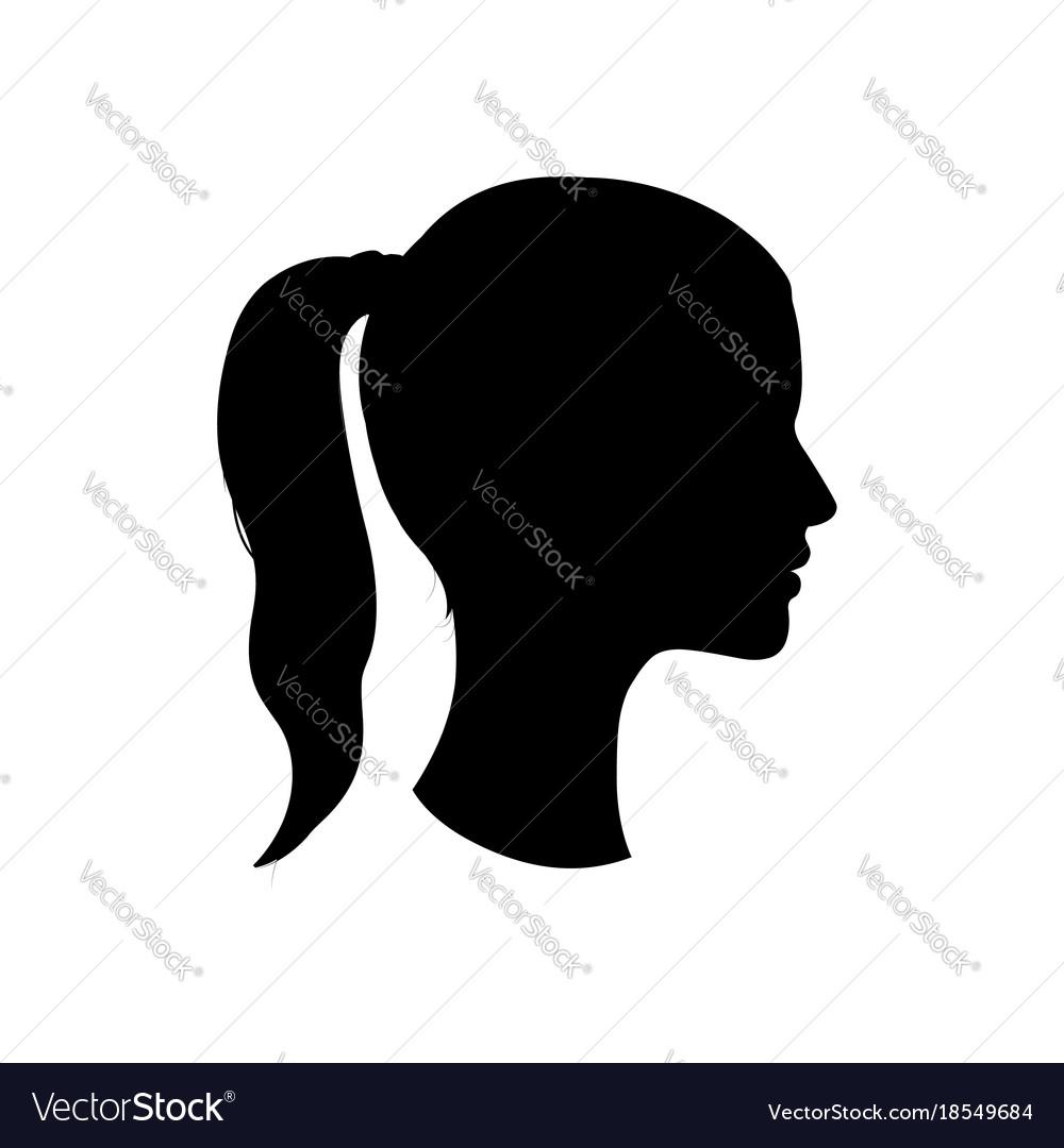 acdc35280 Pretty girl profile woman face silhouette portrait vector image