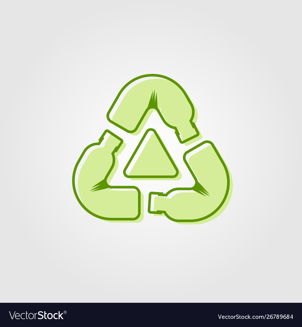 Recycle plastic bottle logo icon line outline