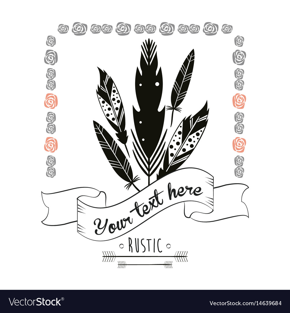 Rustic card feather floral frame vintage vector image