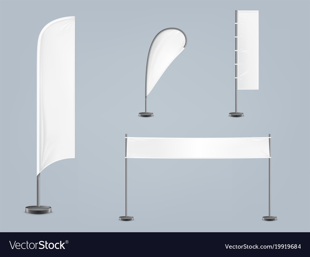 Set of four blank textile banners