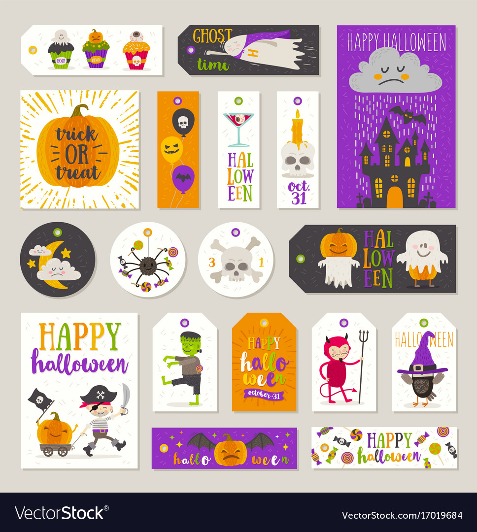 Set of halloween gift tags and labels vector image  sc 1 st  VectorStock & Set of halloween gift tags and labels Royalty Free Vector