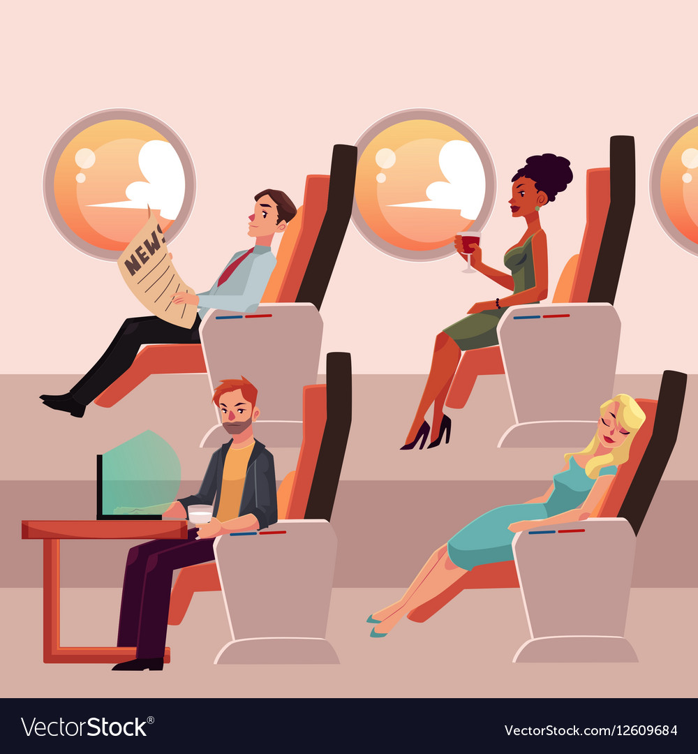 Set of male and female airplane passengers in