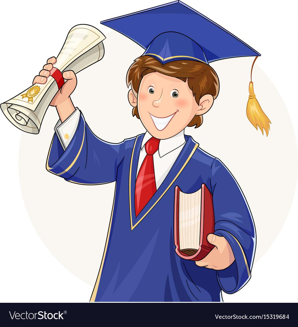 Student in graduate suit vector image
