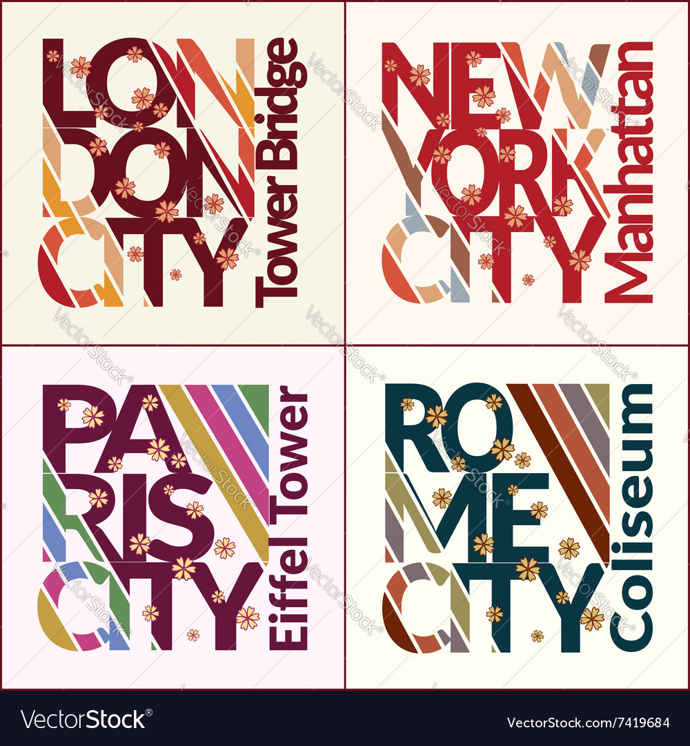 T-shirt design set NYC London Rome Paris