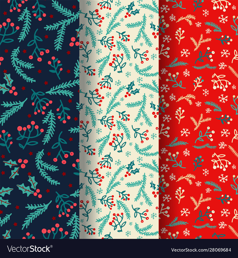 Winter seamless pattern set with decorative winter vector