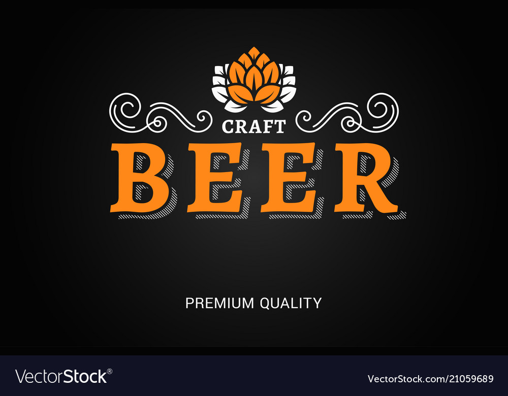 Beer logo with vintage floral ornates on black