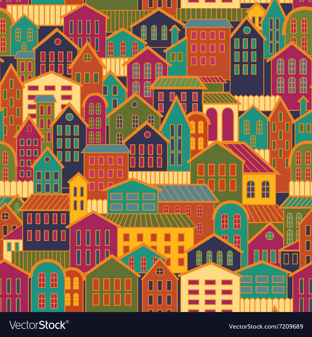 Colorful Seamless Town Background vector image