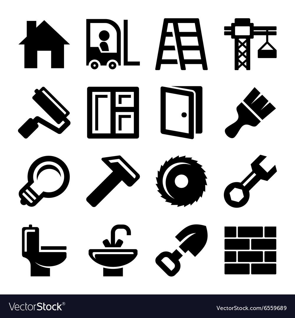 Construction Icons Set on White Background
