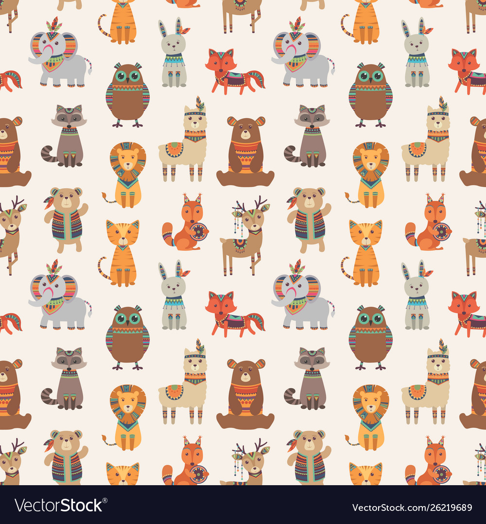 Tribal animal seamless pattern ethnic style