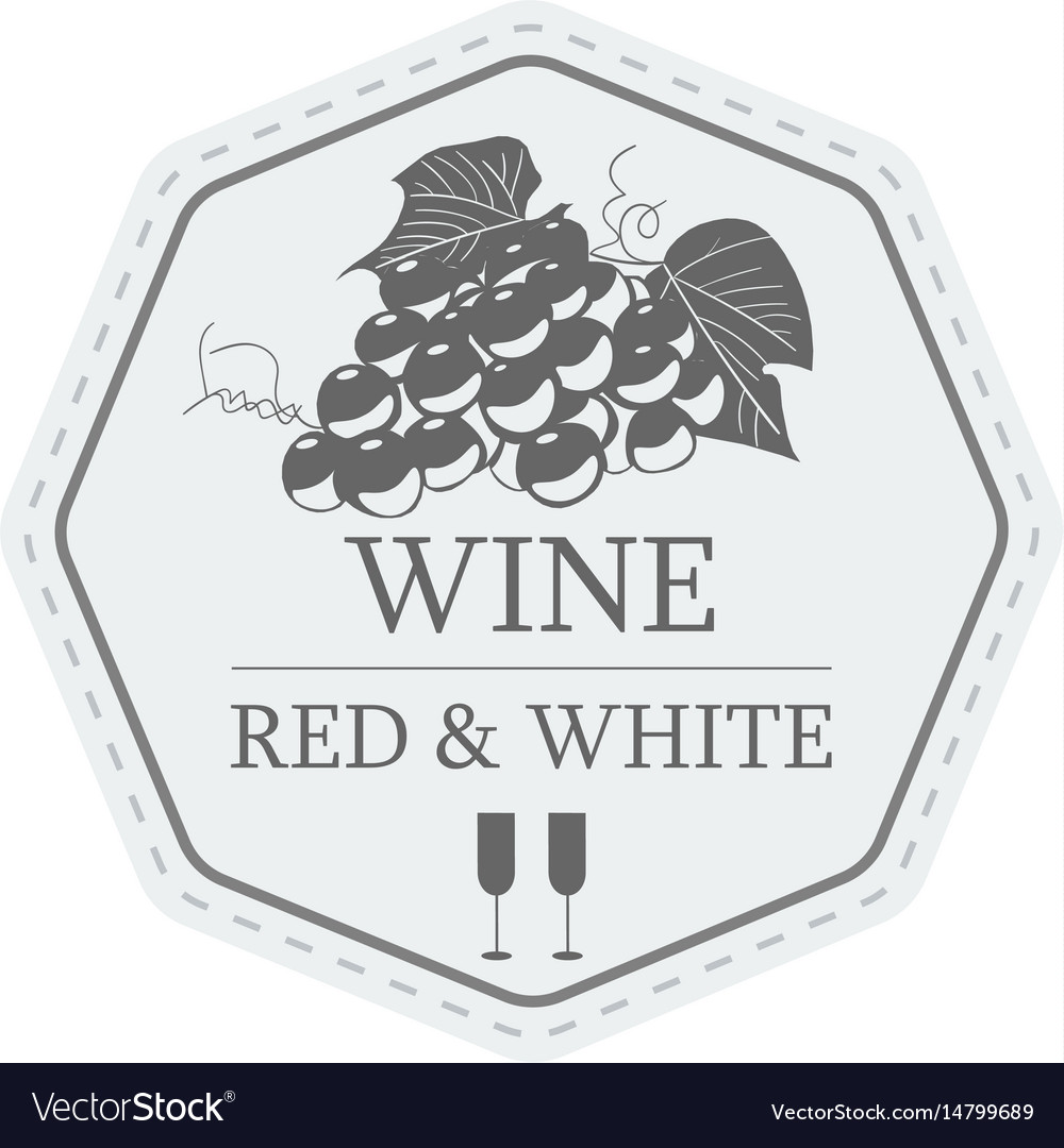 Wine red and white label