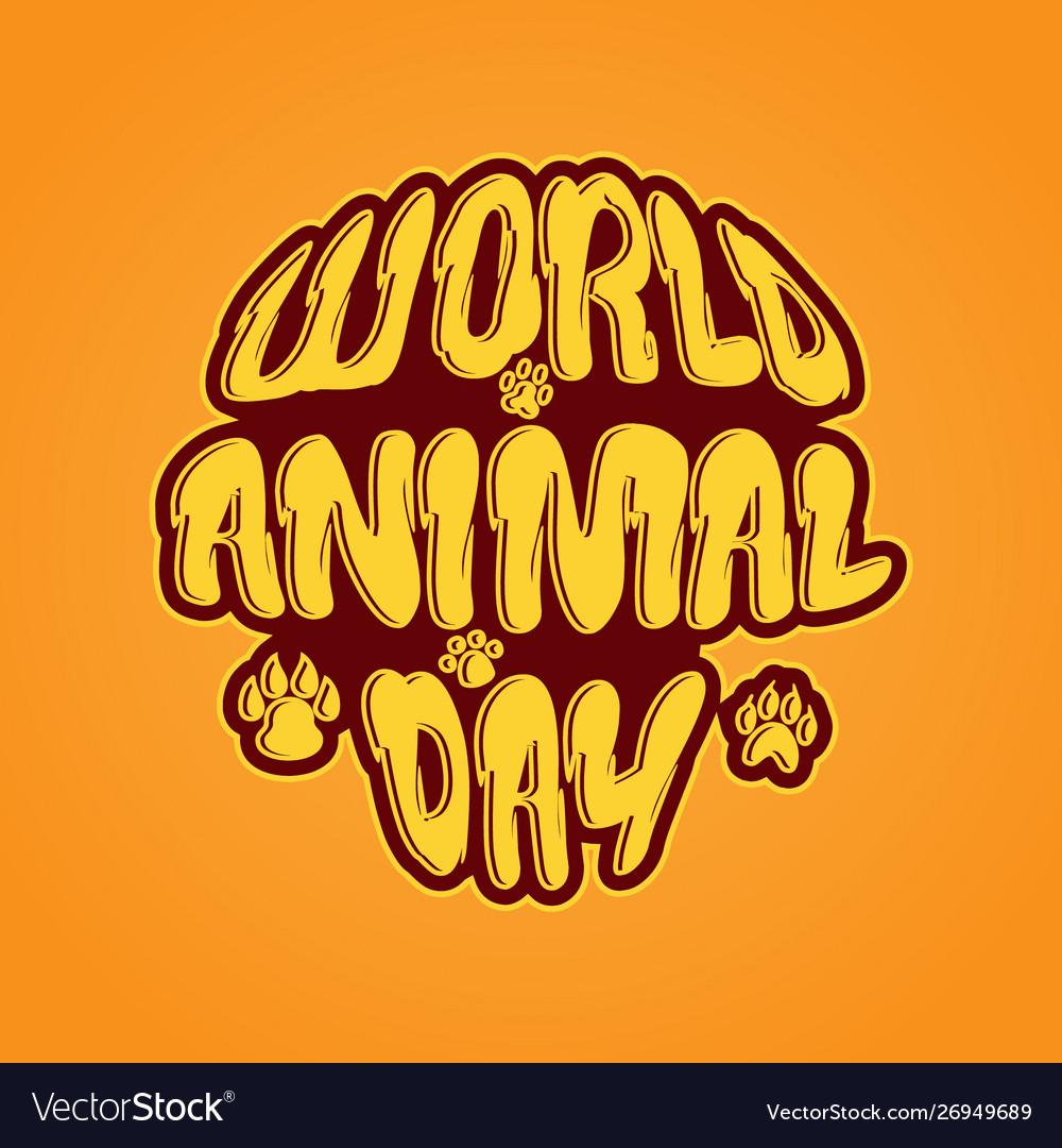 World animal day 4 october emblem