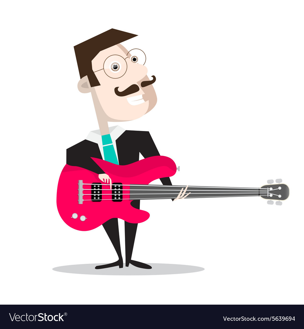 Bass Guitar Player Isolated on White - Retro Flat