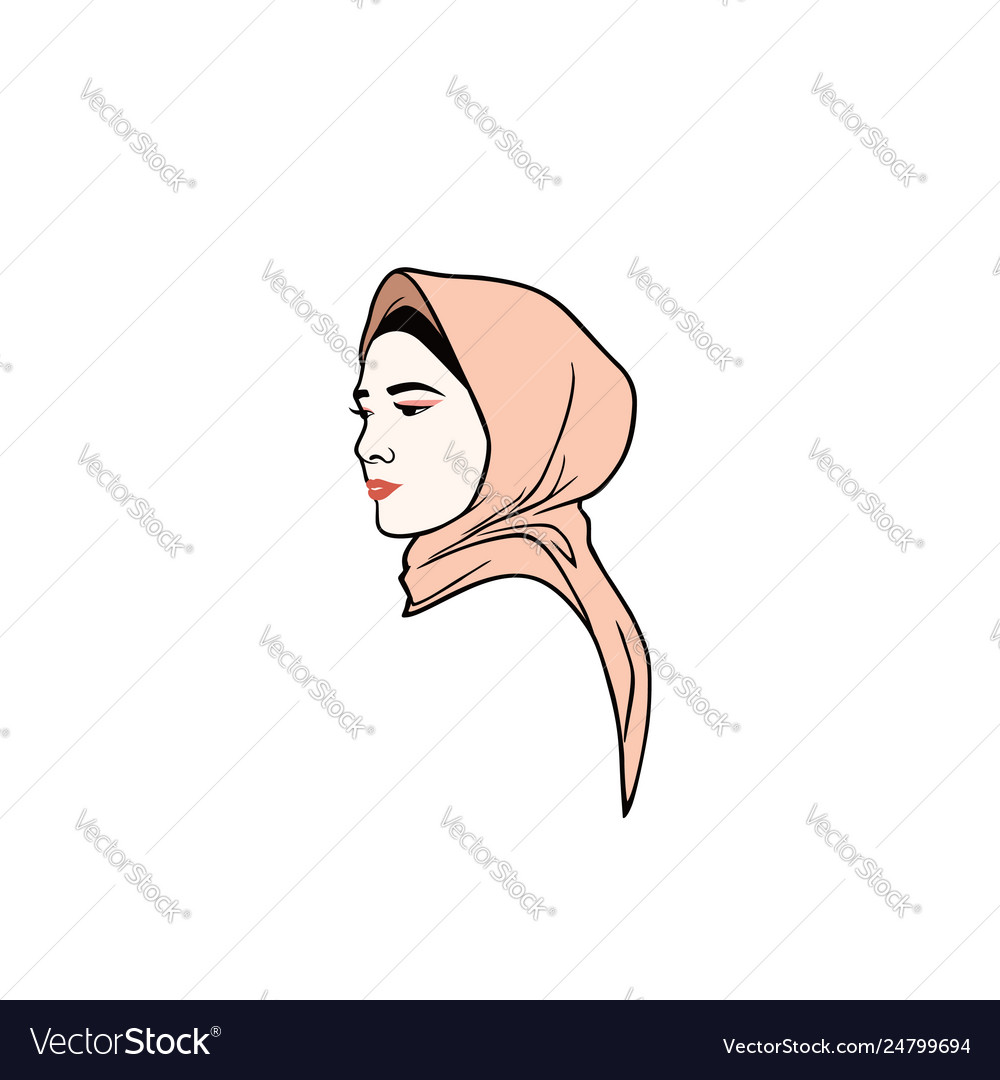 Beautiful moslem girl hijab design logo