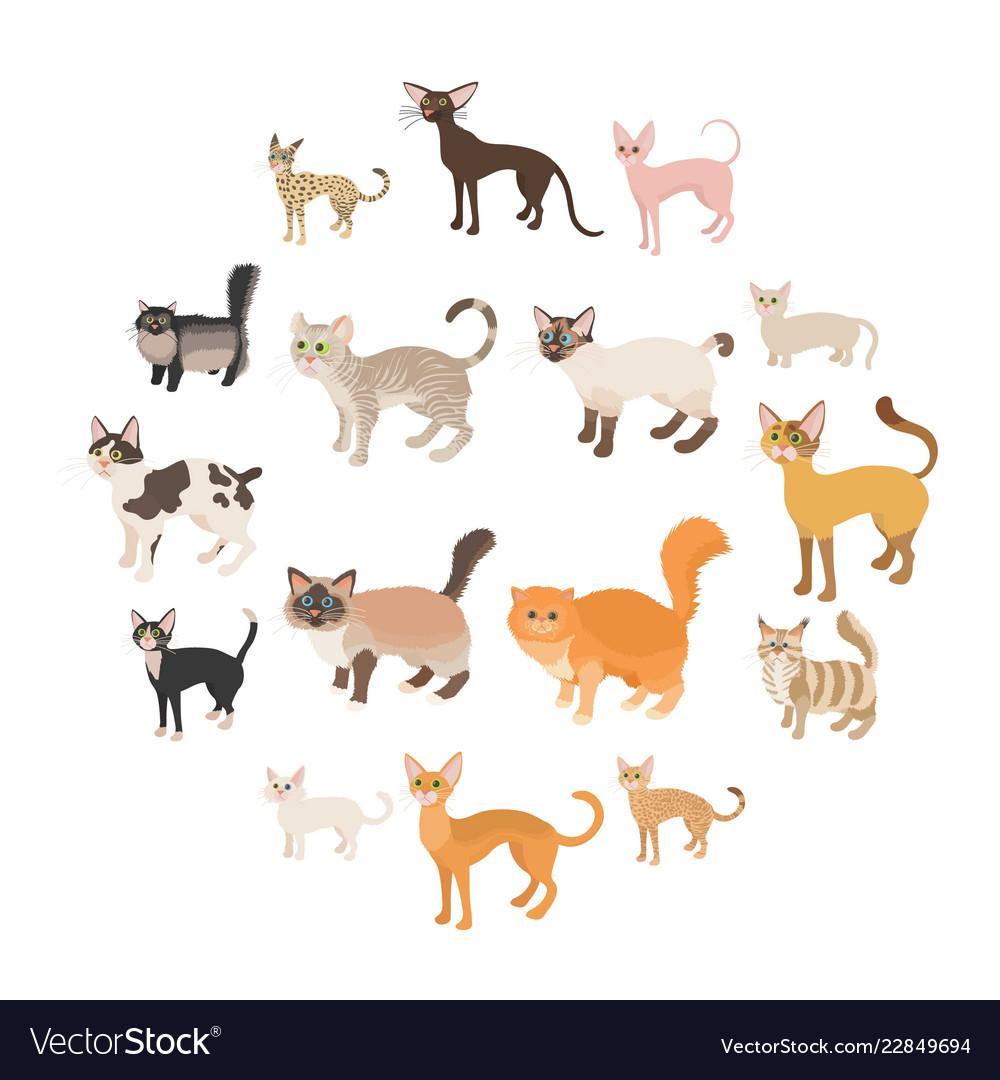 Cat icons set cartoon style
