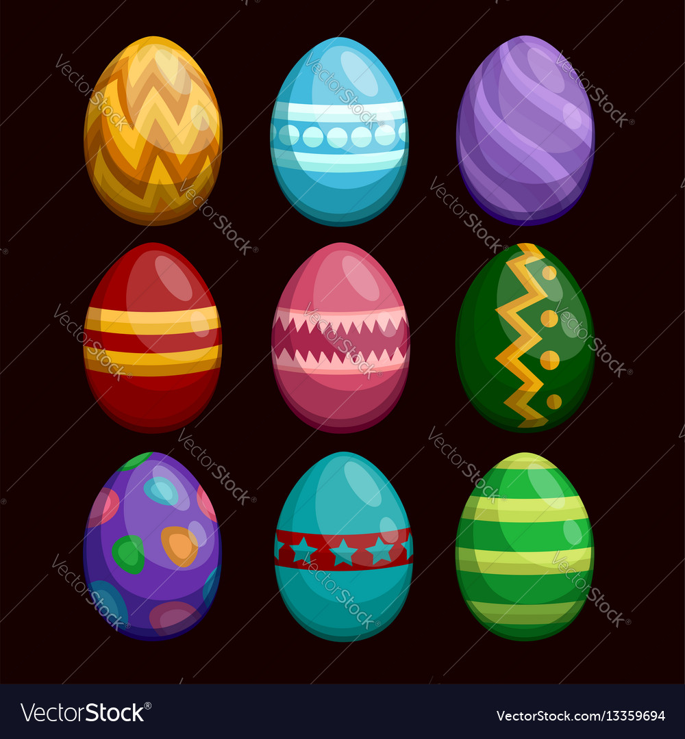 Colorful easter eggs set isolated on dark
