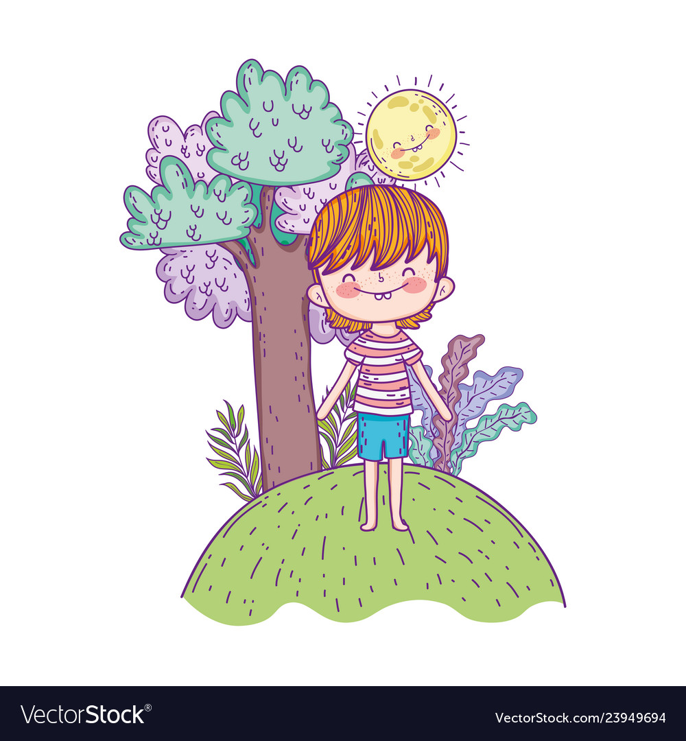 Cute little boy with sun kawaii in the landscape