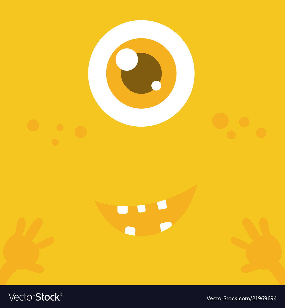 Cute monster cartoon face over yellow abstract