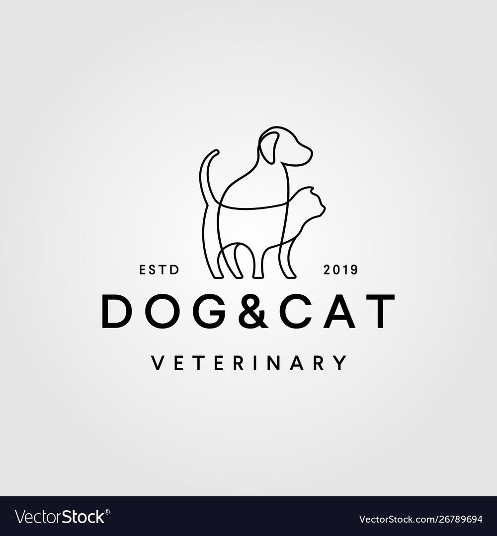 Dog cat line art outline monoline logo retro