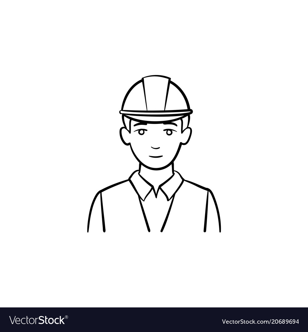 Engineer in hard hat hand drawn sketch icon