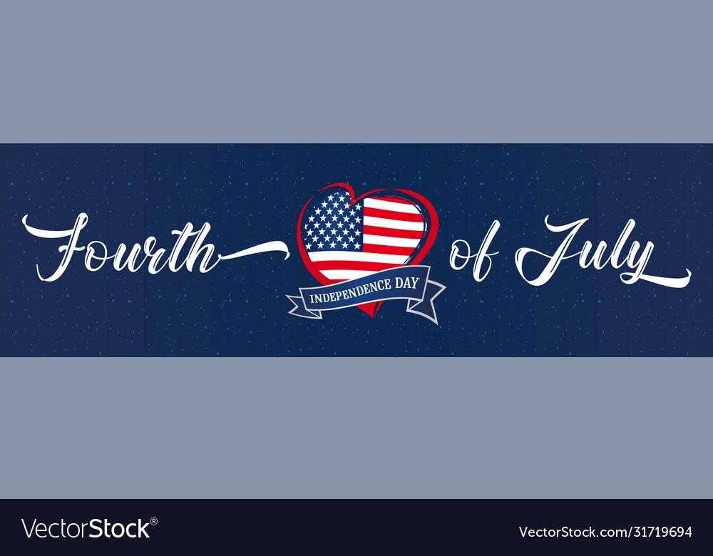 Fourth july usa heart ribbon