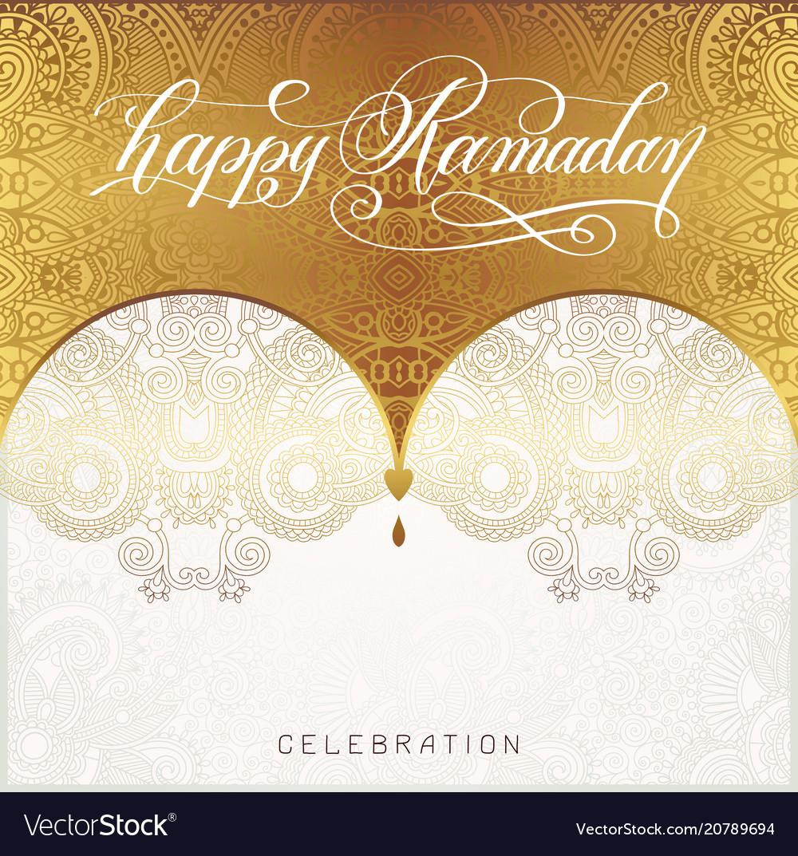 Happy ramadan golden greeting card