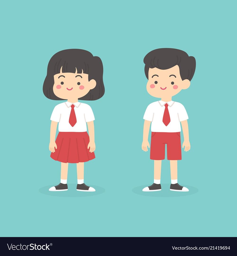 Indonesian elementary school uniform kids cartoon