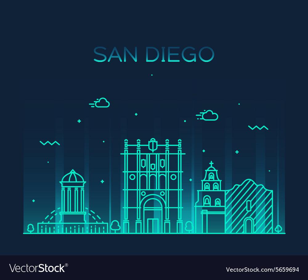 San Diego skyline linear