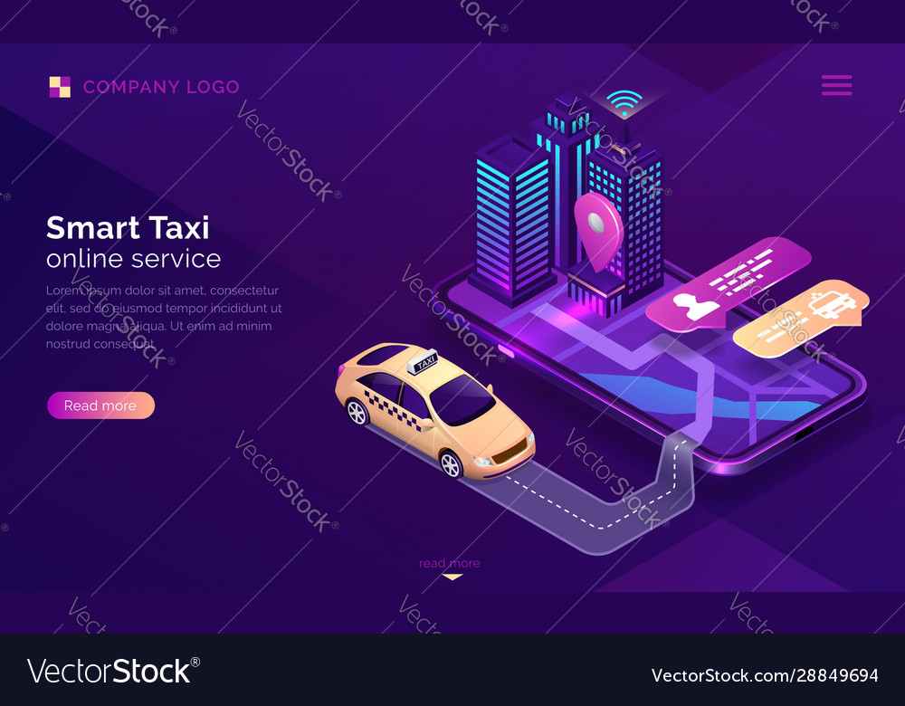 Smart taxi online service isometric landing page