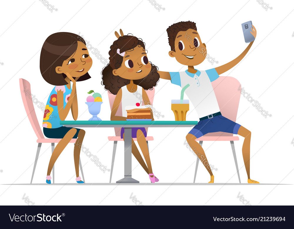 Two African American Girls And Boy Meeting At The Vector Image