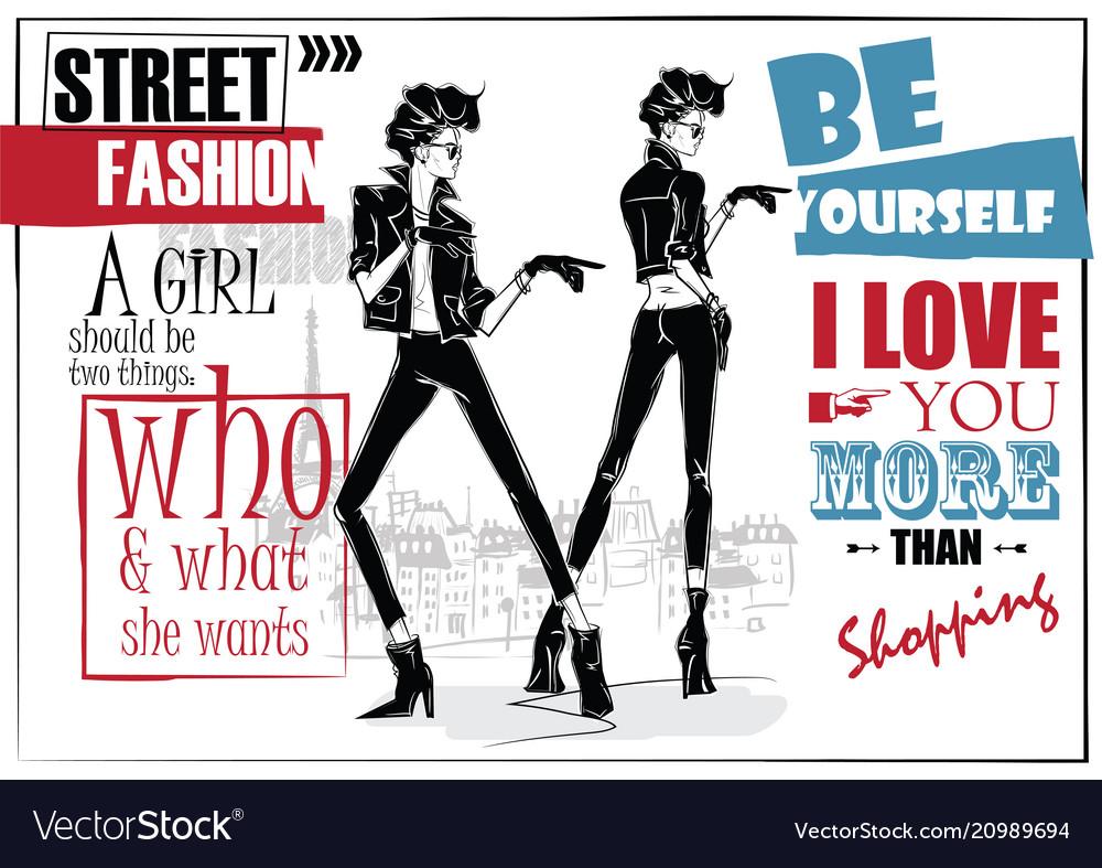 Two fashion women in sketch style