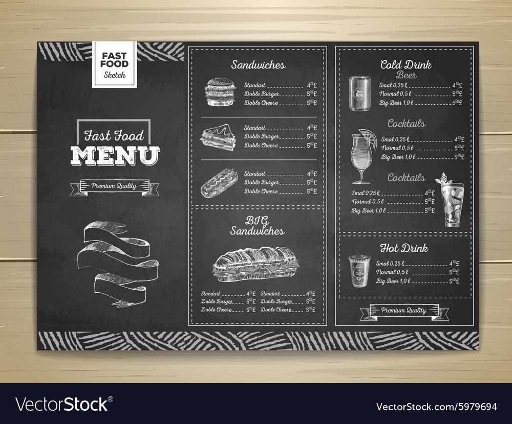 Vintage chalk drawing fast food menu Sandwich