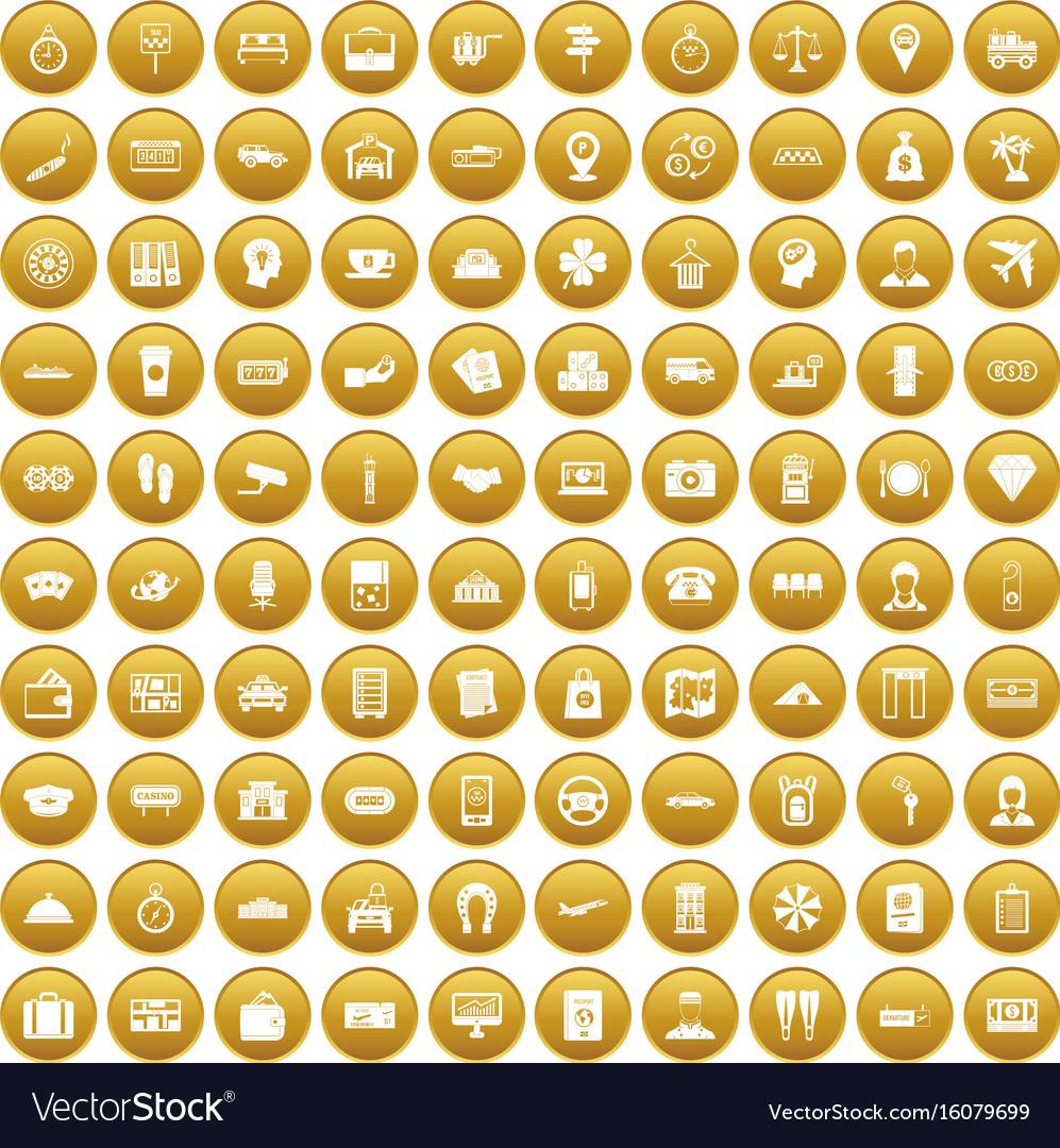 100 paying money icons set gold