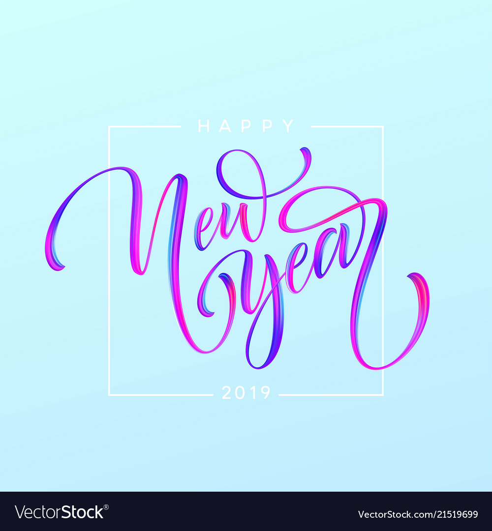 2019 new year of a colorful brushstroke oil or