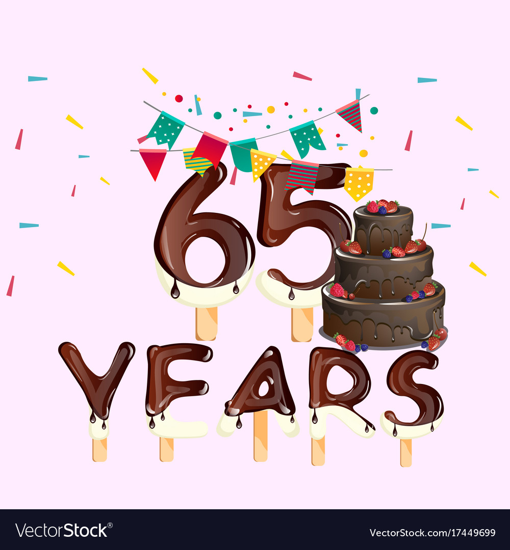 65 Years Happy Birthday Card Vector Image