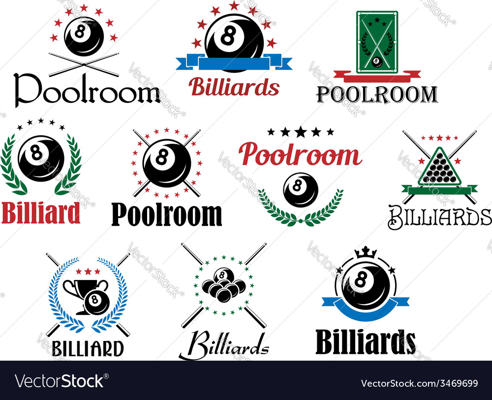 Billiard game emblems and symbols set