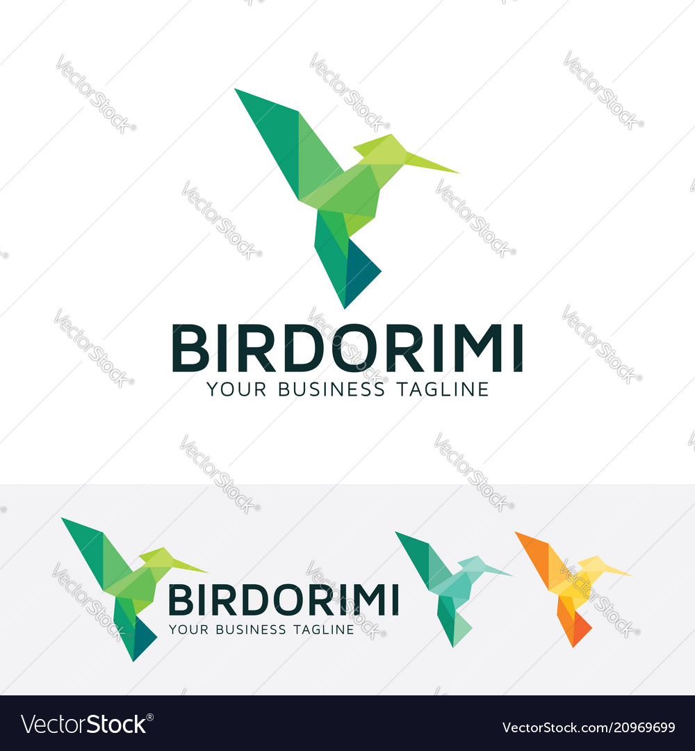 Bird origami logo design vector