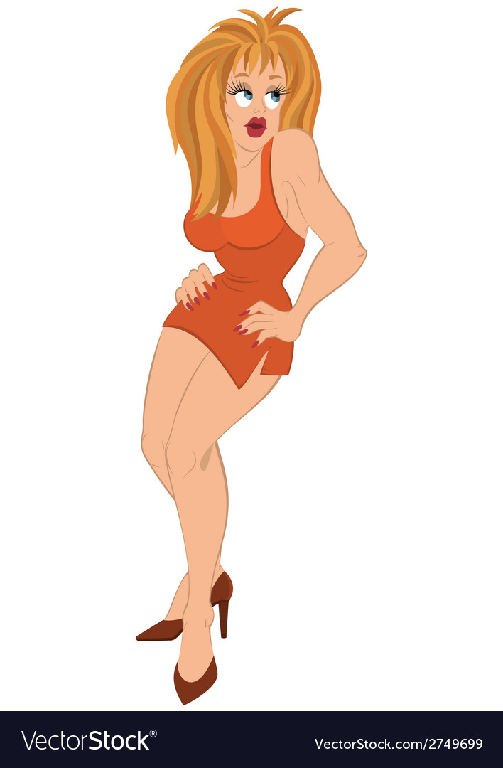 Cartoon girl with blond hair in orange dress vector image
