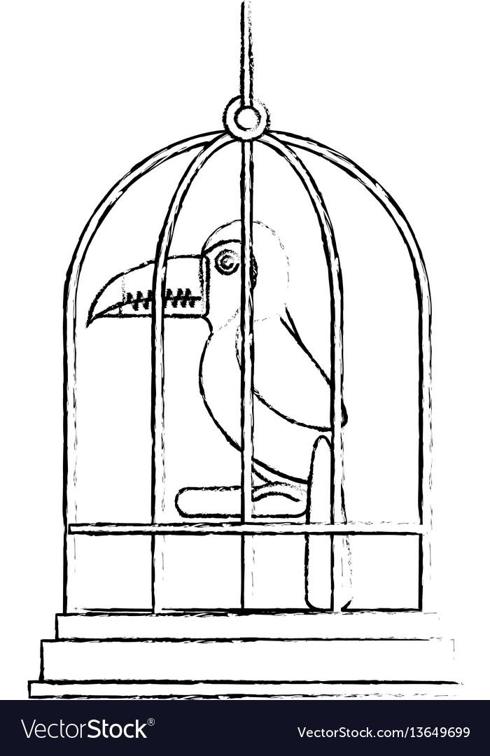 Cute bird toucan in cage mascot