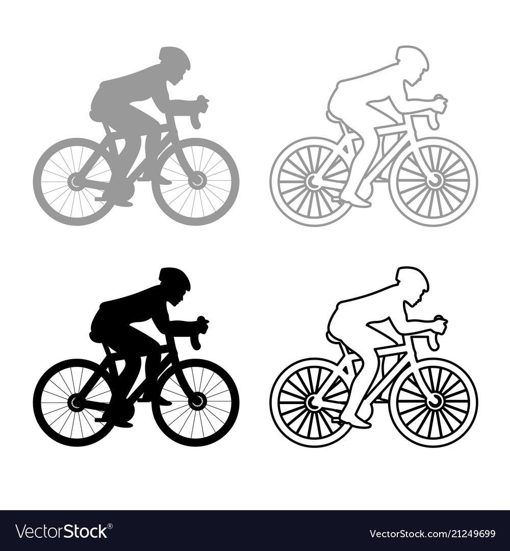 Cyclist on bike silhouette icon outline set grey