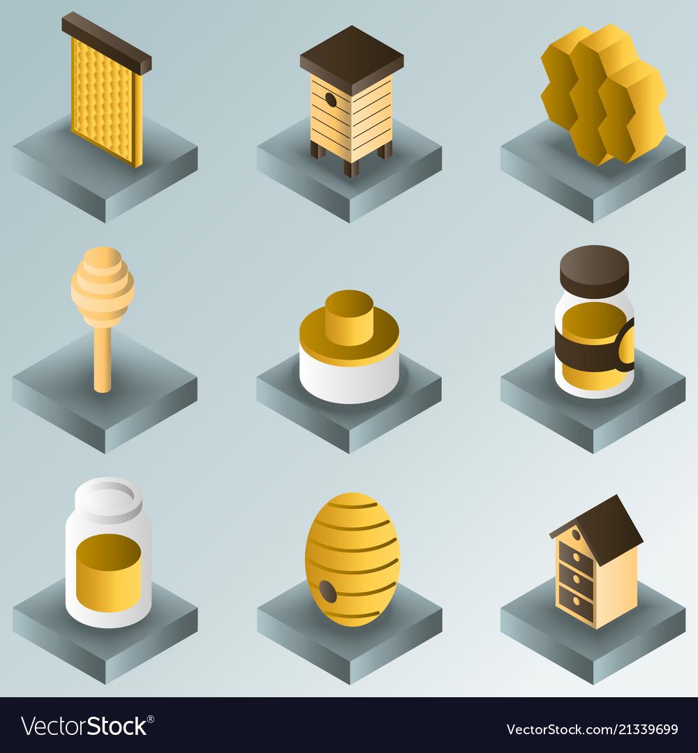 Honey color gradient isometric icons
