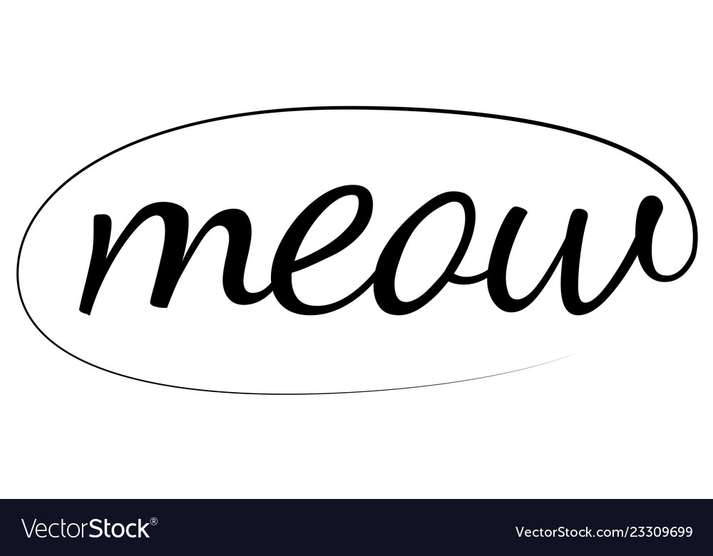 Meow hand drawn brush calligraphic ink comic meow