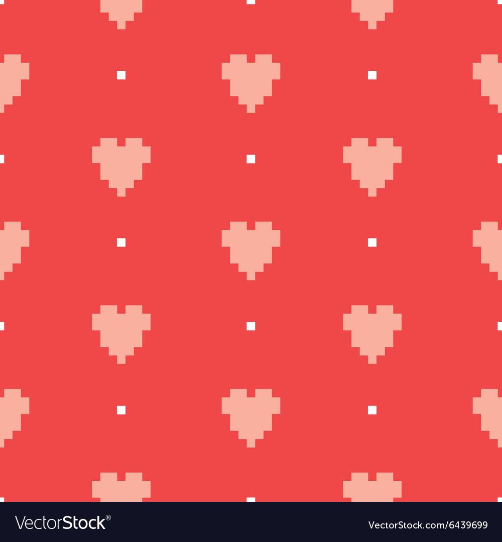 Pixel art heart seamless pattern