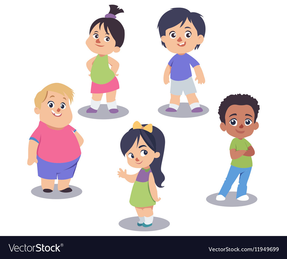 Set of cute children isolated on white vector image